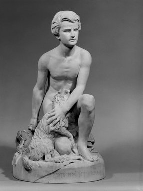 "Karl L. H. Mueller (American, born Germany, 1820-1887). <em>""Protecting the Dumb,""</em> circa 1875. Terra cotta, 24 x 13 5/8 x 14 1/8 in. (61 x 34.6 x 35.9 cm). Brooklyn Museum, Gift of Franklin Chace, 68.87.60. Creative Commons-BY (Photo: Brooklyn Museum, 68.87.60_bw.jpg)"
