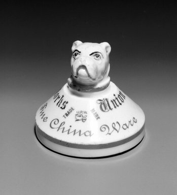 Union Porcelain Works (1863-ca. 1922). <em>Paperweight</em>, 19th century. Porcelain, 2 3/4 x 3 x 3 in. (7 x 7.6 x 7.6 cm). Brooklyn Museum, Gift of Franklin Chace, 68.87.63. Creative Commons-BY (Photo: Brooklyn Museum, 68.87.63_bw.jpg)