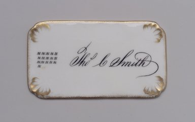Union Porcelain Works (1863-ca. 1922). <em>Calling Card</em>, late 19th century. Porcelain, 1/16 x 3 15/16 x 2 1/4 in. (0.2 x 10 x 5.7 cm). Brooklyn Museum, Gift of Franklin Chace, 68.87.65. Creative Commons-BY (Photo: Brooklyn Museum, 68.87.65.jpg)