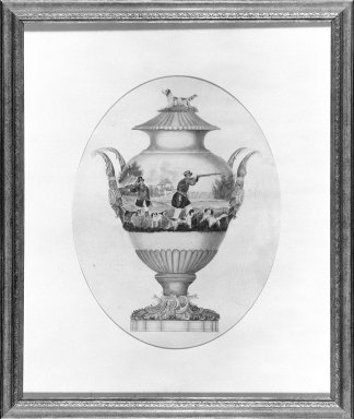 H.S. Bruche (American). <em>Design for a Porcelain Vase</em>, ca. 1848. Watercolor on paper, 25 1/2 x 21 7/16 in. (64.8 x 54.5 cm). Brooklyn Museum, H. Randolph Lever Fund, 68.8. Creative Commons-BY (Photo: Brooklyn Museum, 68.8_bw.jpg)