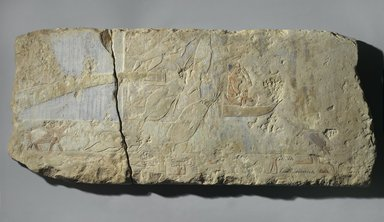 <em>Swamp Scene</em>, ca. 2500-2170 B.C.E. Limestone, pigment, 15 x 35 x 2 in. (38.1 x 88.9 x 5.1 cm). Brooklyn Museum, Charles Edwin Wilbour Fund, 69.115.2a-b. Creative Commons-BY (Photo: Brooklyn Museum, 69.115.2a-b_PS1.jpg)