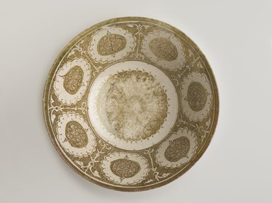 <em>Bowl</em>, early 13th century. Ceramic; fritware, painted in copper luster on a white slip ground under a transparent glaze, 3 7/8 x 8 7/16 in. (9.8 x 21.4 cm). Brooklyn Museum, Gift of Mr. and Mrs. Charles K. Wilkinson, 69.121.1. Creative Commons-BY (Photo: Brooklyn Museum, 69.121.1_top_PS9.jpg)