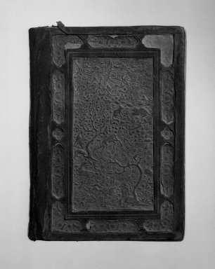 <em>Poetry Book, The Bustan of Saadi</em>, 1539-1540. Leather, paper, ink, and gold, 9 3/4 x 7 in. (24.8 x 17.8 cm). Brooklyn Museum, Gift of Mr. and Mrs. Charles K. Wilkinson, 69.121.4 (Photo: Brooklyn Museum, 69.121.4_back_bw_IMLS.jpg)