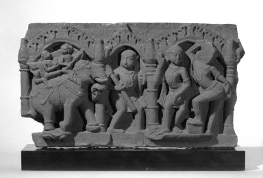 <em>Fragment of a Relief Frieze Depicting an Army</em>. Sandstone, 10 x 18 in. (25.4 x 45.7 cm). Brooklyn Museum, Gift of Mr. and Mrs. Paul E. Manheim, 69.125.12. Creative Commons-BY (Photo: Brooklyn Museum, 69.125.12_view1_bw.jpg)