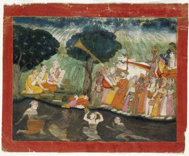 Indian. <em>Krishna and Balarama on Their way to Mathura, Folio from a Dispersed Bhagavata Purana Series</em>, ca. 1725. Opaque watercolor and gold on paper, sheet: 9 1/2 x 12 in.  (24.1 x 30.5 cm). Brooklyn Museum, Gift of Mr. and Mrs. Paul E. Manheim, 69.125.4 (Photo: Brooklyn Museum, 69.125.4_after_treatment_IMLS_SL2.jpg)