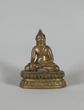<em>Seated Buddha</em>, 11th century. Gilt Bronze, 4 1/2 x 3 7/8 in. (11.4 x 9.8 cm). Brooklyn Museum, Gift of Dr. Bertram H. Schaffner, 69.127.8. Creative Commons-BY (Photo: Brooklyn Museum, 69.127.8_PS5.jpg)