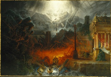 Samuel Colman (British, 1780-1845). <em>The Edge of Doom</em>, 1836-1838. Oil on canvas, 54 x 78 1/2 in. (137.2 x 199.4 cm). Brooklyn Museum, Bequest of Laura L. Barnes, by exchange, 69.130 (Photo: Brooklyn Museum, 69.130_SL1.jpg)