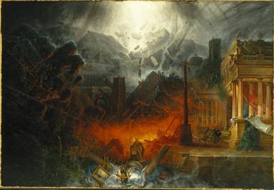 Samuel Colman (British, 1780-1845). <em>The Edge of Doom</em>, 1836-1838. Oil on canvas, 54 x 78 1/2 in. (137.2 x 199.4 cm). Brooklyn Museum, Bequest of Laura L. Barnes, by exchange, 69.130 (Photo: Brooklyn Museum, 69.130_SL1.jpg)