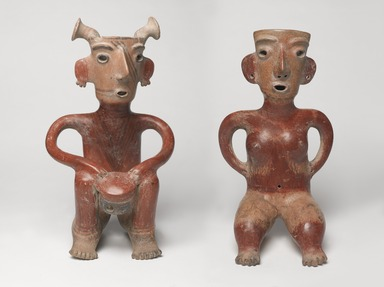 Jalisco. <em>Seated Male Figure</em>, ca. 200 C.E. Ceramic, slip, 16 x 9 x 8 in. (40.6 x 22.9 x 20.3 cm). Brooklyn Museum, Gift of Mr. and Mrs. Arnold Maremont, 69.132.2. Creative Commons-BY (Photo: , 69.132.1-2_PS9.jpg)
