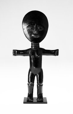 Asante. <em>Fertility Doll (Akuaba)</em>, 20th century. Wood, height (w/out modern base): 13 1/2 in. (34.1 cm). Brooklyn Museum, Gift of Merton D. Simpson to the Jennie Simpson Educational Collection of African Art, 69.133.4. Creative Commons-BY (Photo: Brooklyn Museum, 69.133.4_bw.jpg)