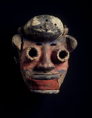 We. <em>Mask</em>, 20th century. Wood, cloth, vegetable, fiber, pigment, clay, 9 x 7 1/2 x 5 in. (22.9 x 19.1 x 12.7 cm). Brooklyn Museum, Gift of Merton D. Simpson to the Jennie Simpson Educational Collection of African Art, 69.133.5. Creative Commons-BY (Photo: Brooklyn Museum, 69.133.5.jpg)