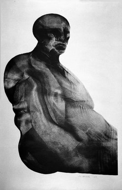 Marshall Arisman (American, born 1938). <em>Man Facing Right</em>, 1968. Ink and aluminum on paper, sheet: 29 x 23 1/4 in. (73.7 x 59.1 cm). Brooklyn Museum, Bristol-Myers Fund, 69.138.2. © artist or artist's estate (Photo: Brooklyn Museum, 69.138.2_bw.jpg)