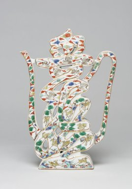 <em>Wine Ewer</em>, 1662-1722. Porcelain with overglaze enamel, 9 7/8 x 6 1/2 x 1 15/16 in. (25.1 x 16.5 x 4.9 cm). Brooklyn Museum, Gift of Mrs. Frank K. Sanders, Jr., 69.14. Creative Commons-BY (Photo: , 69.14_front_PS11.jpg)