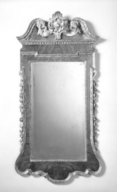 <em>Looking Glass</em>, ca.1730. Mahogany veneer, gesso and gilt, 48 1/2 x 25 in. (123.2 x 63.5 cm). Brooklyn Museum, Gift of Mr. and Mrs. George Richard, 69.159.3. Creative Commons-BY (Photo: Brooklyn Museum, 69.159.3_bw.jpg)