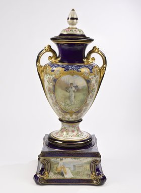 Trenton Art Potteries Co. (1892-1969). <em>Covered Urn</em>, ca. 1905. Porcelain, metal, 53 x 18 in. (134.6 cm). Brooklyn Museum, Gift of the Crane Company, 69.161a-e. Creative Commons-BY (Photo: Brooklyn Museum, 69.161a-e_view_1_PS9.jpg)