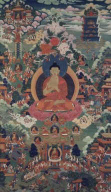 <em>Shakyamuni Buddha Surrounded by Scenes of his Life</em>, 18th century. Color and gold on cotton, framed: 43 5/16 x 21 7/8 in. (110 x 55.5 cm). Brooklyn Museum, Gift of Mr. and Mrs. Arthur Wiesenberger, 69.164.1. Creative Commons-BY (Photo: Image courtesy of the Shelley and Donald Rubin Foundation, George Roos,er, 69.164.1.jpg)