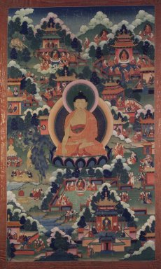 <em>Shakyamuni Buddha Surrounded with Scenes of his Life</em>, 18th century. Opaque watercolors on cloth with gold leaf detail, Composition: 39 3/4 x 23 1/8 in. (101 x 58.7 cm). Brooklyn Museum, Gift of Mr. and Mrs. Arthur Wiesenberger, 69.164.15 (Photo: Image courtesy of the Shelley and Donald Rubin Foundation, George Roos,er, 69.164.15.jpg)