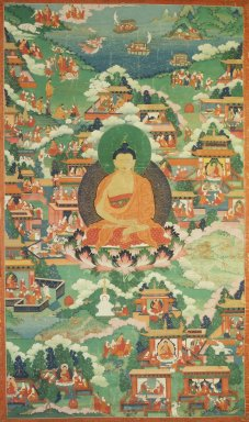 <em>Shakyamuni Buddha Surrounded with Scenes of his Life</em>, 18th century ?. Color on cloth, Composition: 39 3/4 x 23 1/8 in. (101 x 58.7 cm). Brooklyn Museum, Gift of Mr. and Mrs. Arthur Wiesenberger , 69.164.16 (Photo: Image courtesy of the Shelley and Donald Rubin Foundation, George Roos,er, 69.164.16.jpg)