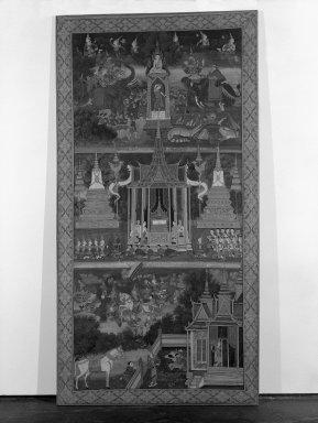 <em>Life of the  Buddha</em>, ca. 1920. Opaque watercolors on silk, frame: 70 1/8 x 36 1/4 in. (178.1 x 92.1 cm). Brooklyn Museum, Gift of Mr. and Mrs. Arthur Wiesenberger, 69.164.18 (Photo: Brooklyn Museum, 69.164.18_bw.jpg)