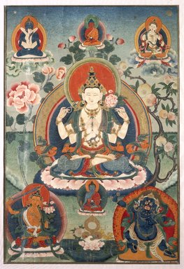 <em>Four-Armed Avalokiteshvara</em>, early 20th century. Color and gold on cotton, 24 3/8 x 17 1/8 in. (61.9 x 43.5 cm). Brooklyn Museum, Gift of Mr. and Mrs. Arthur Wiesenberger
