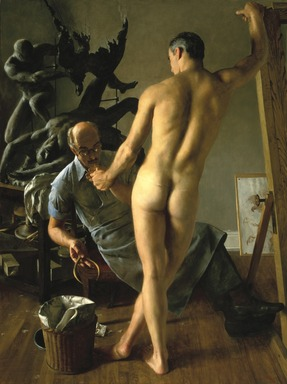 John Koch (American, 1909-1978). <em>The Sculptor</em>, 1964. Oil on canvas, 80 x 59 7/8 in. (203.2 x 152.1 cm). Brooklyn Museum, Gift of the artist, 69.165. © artist or artist's estate (Photo: Brooklyn Museum, 69.165_SL1.jpg)