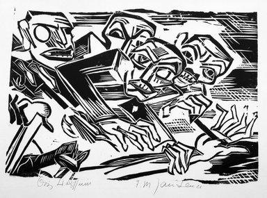 Franz M. Jansen (German, 1885-1958). <em>Beerhall</em>, 1920. Woodcut on wove paper, 12 3/4 x 15 1/2 in. (32.4 x 39.4 cm). Brooklyn Museum, Gift of Elsa and Peter Neumann, 69.19.20 (Photo: Brooklyn Museum, 69.19.20_bw.jpg)