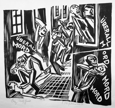 Franz M. Jansen (German, 1885-1958). <em>Murder Everywhere</em>, 1921. Woodcut on wove paper, 16 3/4 x 17 in. (42.5 x 43.2 cm). Brooklyn Museum, Gift of Elsa and Peter Neumann, 69.19.7 (Photo: Brooklyn Museum, 69.19.7_bw.jpg)
