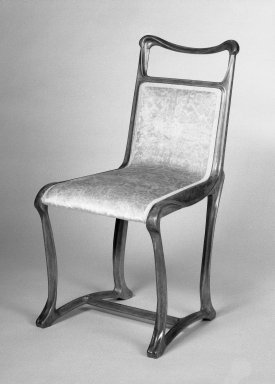 <em>Side Chair</em>, ca. 1900. Beechwood and old but not original textile, 69.38.1 - 35 x 18 x 22 in. (88.9 x 45.7 x 55.9 cm). Brooklyn Museum, Purchased with funds given by an anonymous donor and gift of Lillian Nassau, 69.38.1. Creative Commons-BY (Photo: Brooklyn Museum, 69.38.1_view1_bw.jpg)
