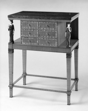 <em>Cabinet</em>, CA. 1915. Satinwood, inlay, marble top, 32 3/4 x 25 5/8 x 15 3/4 in. (83.2 x 65.1 x 40 cm). Brooklyn Museum, Purchased with funds given by an anonymous donor, 69.38.2. Creative Commons-BY (Photo: Brooklyn Museum, 69.38.2_threequarter_left_bw.jpg)