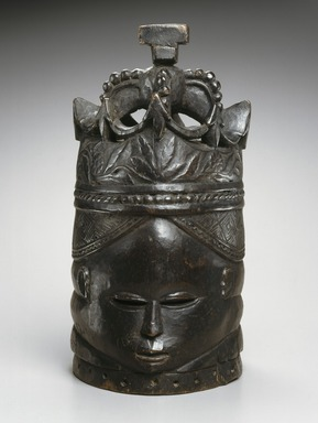 Vani Sona (ca. 1885-1951). <em>Sande society mask (sowei)</em>, 20th century. Wood, pigment, 16 x 7 3/4 x 10 1/4 in. (40.6 x 19.7 x 26 cm). Brooklyn Museum, Robert B. Woodward Memorial Fund and Gift of Arturo and Paul Peralta-Ramos, by exchange, 69.39.2. Creative Commons-BY (Photo: Brooklyn Museum, 69.39.2_edited_SL1.jpg)