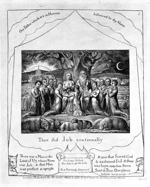 William Blake (British, 1757-1827). <em>Thus Did Job Continually, from Illustrations of the Book of Job</em>, 1825. Engraving, 8 5/16 x 6 7/16 in. (21.1 x 16.3 cm). Brooklyn Museum, Bequest of Mary Hayward Weir, 69.4.1b (Photo: Brooklyn Museum, 69.4.1b_bw.jpg)
