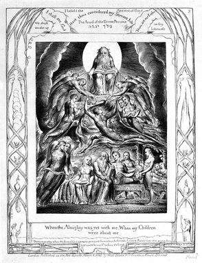 William Blake (British, 1757-1827). <em>When The Almighty Was Yet With Me, When My Children Were About Me, from Illustrations of the Book of Job</em>, 1825. Engraving, 8 5/16 x 6 7/16 in. (21.1 x 16.3 cm). Brooklyn Museum, Bequest of Mary Hayward Weir, 69.4.1c (Photo: Brooklyn Museum, 69.4.1c_bw.jpg)