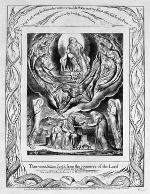 William Blake (British, 1757-1827). <em>There Went Satan Forth from the Presence of the Lord, from Illustrations of the Book of Job</em>, 1825. Engraving, 8 5/16 x 6 7/16 in. (21.1 x 16.3 cm). Brooklyn Museum, Bequest of Mary Hayward Weir, 69.4.1f (Photo: Brooklyn Museum, 69.4.1f_bw.jpg)
