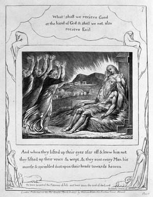 William Blake (British, 1757-1827). <em>And When They Lifted Up Their Eyes Afar...(etc.), from Illustrations of the Book of Job</em>, 1825. Engraving, 8 5/16 x 6 7/16 in. (21.1 x 16.3 cm). Brooklyn Museum, Bequest of Mary Hayward Weir, 69.4.1h (Photo: Brooklyn Museum, 69.4.1h_bw.jpg)