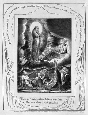 William Blake (British, 1757-1827). <em>Let the Day Perish Wherein I Was Born, from Illustrations of the Book of Job</em>, 1825. Engraving, 8 5/16 x 6 7/16 in. (21.1 x 16.3 cm). Brooklyn Museum, Bequest of Mary Hayward Weir, 69.4.1i (Photo: Brooklyn Museum, 69.4.1i_bw.jpg)