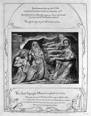William Blake (British, 1757-1827). <em>The Just Upright Man is Laughed to Scorn, from Illustrations of the Book of Job</em>, 1825. Engraving, 8 5/16 x 6 7/16 in. (21.1 x 16.3 cm). Brooklyn Museum, Bequest of Mary Hayward Weir, 69.4.1k (Photo: Brooklyn Museum, 69.4.1k_bw.jpg)