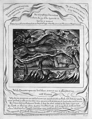 William Blake (British, 1757-1827). <em>With Dreams Upon My Bed Thou Scarest Me & Afrightest Me with Visions, from Illustrations of the Book of Job</em>, 1825. Engraving, 8 5/16 x 6 7/16 in. (21.1 x 16.3 cm). Brooklyn Museum, Bequest of Mary Hayward Weir, 69.4.1l (Photo: Brooklyn Museum, 69.4.1l_bw.jpg)