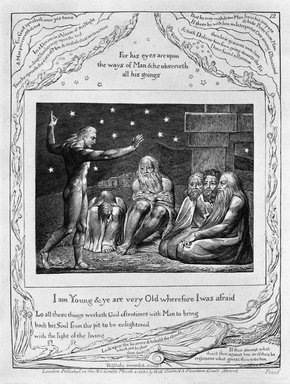 William Blake (British, 1757-1827). <em>I Am Young & Ye Are Very Old Wherefore I Was Afraid, from Illustrations of the Book of Job</em>, 1825. Engraving, 8 5/16 x 6 7/16 in. (21.1 x 16.3 cm). Brooklyn Museum, Bequest of Mary Hayward Weir, 69.4.1m (Photo: Brooklyn Museum, 69.4.1m_bw.jpg)