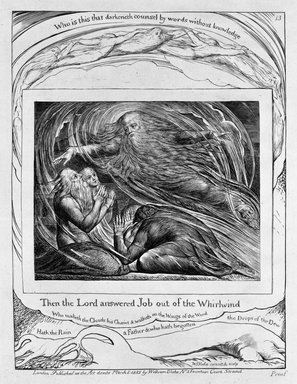 William Blake (British, 1757-1827). <em>Then the Lord Answered Job out of the Whirlwind, from Illustrations of the Book of Job</em>, 1825. Engraving, 8 5/16 x 6 7/16 in. (21.1 x 16.3 cm). Brooklyn Museum, Bequest of Mary Hayward Weir, 69.4.1n (Photo: Brooklyn Museum, 69.4.1n_bw.jpg)