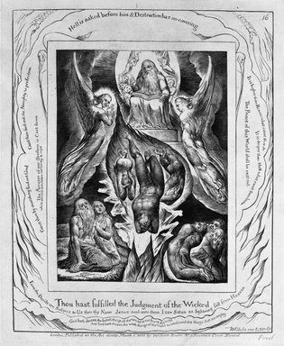 William Blake (British, 1757-1827). <em>Thou has Fulfilled the Judgement of the Wicked, from Illustrations of the Book of Job</em>, 1825. Engraving, 8 5/16 x 6 7/16 in. (21.1 x 16.3 cm). Brooklyn Museum, Bequest of Mary Hayward Weir, 69.4.1q (Photo: Brooklyn Museum, 69.4.1q_bw.jpg)