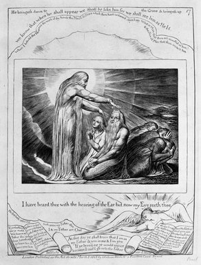 William Blake (British, 1757-1827). <em>I Have Heard Thee with the Hearing of the Ear but Now My Eyes Seeth Thee, from Illustrations of the Book of Job</em>, 1825. Engraving, 8 5/16 x 6 7/16 in. (21.1 x 16.3 cm). Brooklyn Museum, Bequest of Mary Hayward Weir, 69.4.1r (Photo: Brooklyn Museum, 69.4.1r_bw.jpg)