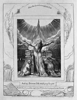 William Blake (British, 1757-1827). <em>And My Servant Job Shall Pray for You, from Illustrations of the Book of Job</em>, 1825. Engraving, 8 5/16 x 6 7/16 in. (21.1 x 16.3 cm). Brooklyn Museum, Bequest of Mary Hayward Weir, 69.4.1s (Photo: Brooklyn Museum, 69.4.1s_bw.jpg)