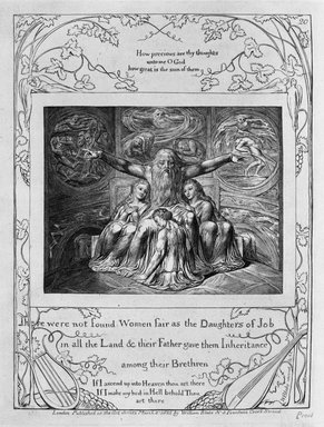 William Blake (British, 1757-1827). <em>There were not Found Women as Fair as the Daughters of Job in All the Land...(etc,), from Illustrations of the Book of Job</em>, 1825. Engraving, 8 5/16 x 6 7/16 in. (21.1 x 16.3 cm). Brooklyn Museum, Bequest of Mary Hayward Weir, 69.4.1u (Photo: Brooklyn Museum, 69.4.1u_bw.jpg)