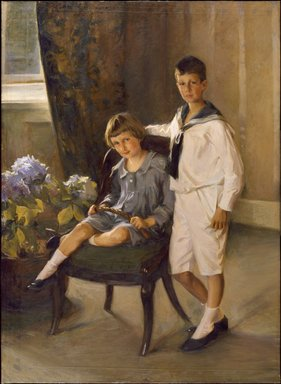 Lydia Field Emmet (American, 1866-1952). <em>The Brothers</em>, 1909. Oil on canvas, 64 3/16 x 47 5/16 in. (163 x 120.2 cm). Brooklyn Museum, Gift of George L. K. Morris, 69.41 (Photo: Brooklyn Museum, 69.41_SL3.jpg)