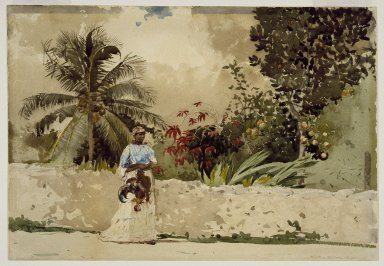 Winslow Homer (American, 1836-1910). <em>On the Way to Market, Bahamas</em>, 1885. Watercolor over pencil, Sheet: 13 15/16 x 20 1/16 in. (35.4 x 51 cm). Brooklyn Museum, Gift of Gunnar Maske in memory of Elizabeth Treadway White Maske, 69.50 (Photo: Brooklyn Museum, 69.50_SL3.jpg)