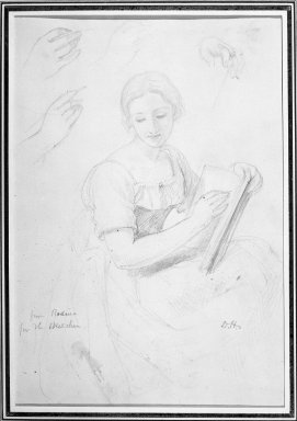 Daniel Huntington (American, 1816-1906). <em>Woman Holding Book</em>, ca. 1839-58. Graphite on paper, Sheet: 10 9/16 x 7 3/16 in. (26.8 x 18.3 cm). Brooklyn Museum, Dick S. Ramsay Fund, 69.62.1 (Photo: Brooklyn Museum, 69.62.1_acetate_bw.jpg)