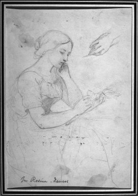 Daniel Huntington (American, 1816-1906). <em>Woman Reading</em>, ca. 1839-58. Graphite on wove paper, Sheet: 10 1/2 x 7 3/16 in. (26.7 x 18.3 cm). Brooklyn Museum, Dick S. Ramsay Fund, 69.62.2 (Photo: Brooklyn Museum, 69.62.2_acetate_bw.jpg)