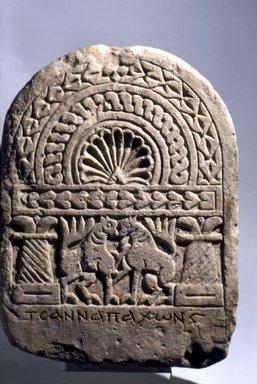 Coptic. <em>Stela of Tsanna</em>, 8th century C.E. Limestone, pigment, 17 11/16 x 13 3/8 x 3 5/16 in. (45 x 34 x 8.4 cm). Brooklyn Museum, Charles Edwin Wilbour Fund, 69.74.2. Creative Commons-BY (Photo: Brooklyn Museum, 69.74.2.jpg)