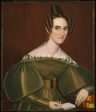 Ammi Phillips (American, 1788-1865). <em>Jeannette Woolley, later Mrs. John Vincent Storm</em>, ca. 1838. Oil on canvas, 33 x 27 15/16 in. (83.8 x 71 cm). Brooklyn Museum, Gift of Mrs. Waldo Hutchins, Jr., 69.7 (Photo: Brooklyn Museum, 69.7_SL1.jpg)