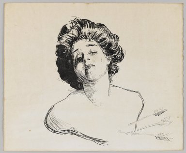 Charles Dana Gibson (American, 1867-1944). <em>Young Woman Struck with Cupid's Arrows</em>, ca. 1900. Black ink on cream, medium-weight, slightly textured wove paper, sheet: 10 x 12 in. (25.4 x 30.5 cm). Brooklyn Museum, Gift of Michael Cohen, 69.85 (Photo: Brooklyn Museum, 69.85_PS4.jpg)